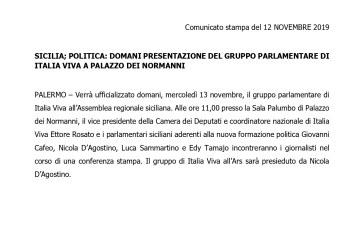 SICILIA; POLITICA: DOMANI PRESENTAZIONE DEL GRUPPO PARLAMENTARE DI ITALIA VIVA A PALAZZO DEI NORMANNI